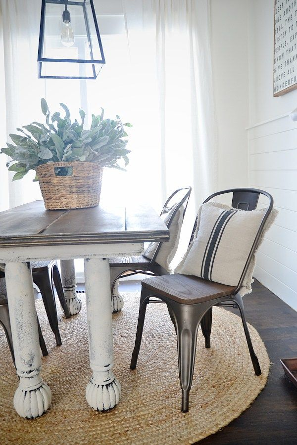 New Rustic Metal And Wood Dining Chairs Farmhouse table