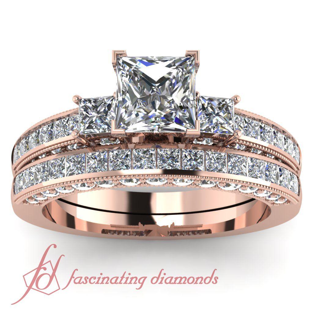 Princess Cut & Round Diamonds 14K Rose Gold Wedding Ring