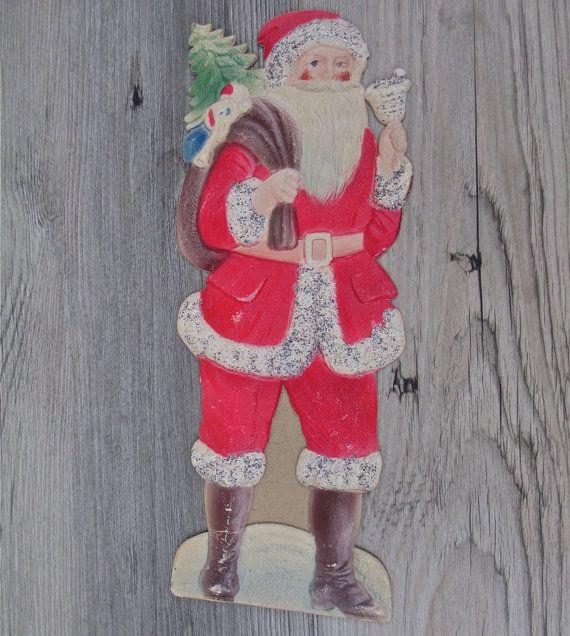 Antique German Cardboard Santa Pressed Paper 1930s Easel