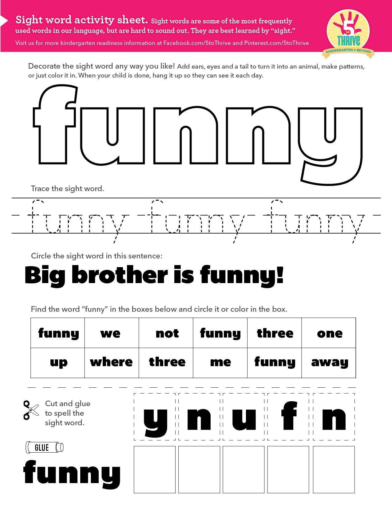 Big Brother Is Funny This Week S Sight Word Funny