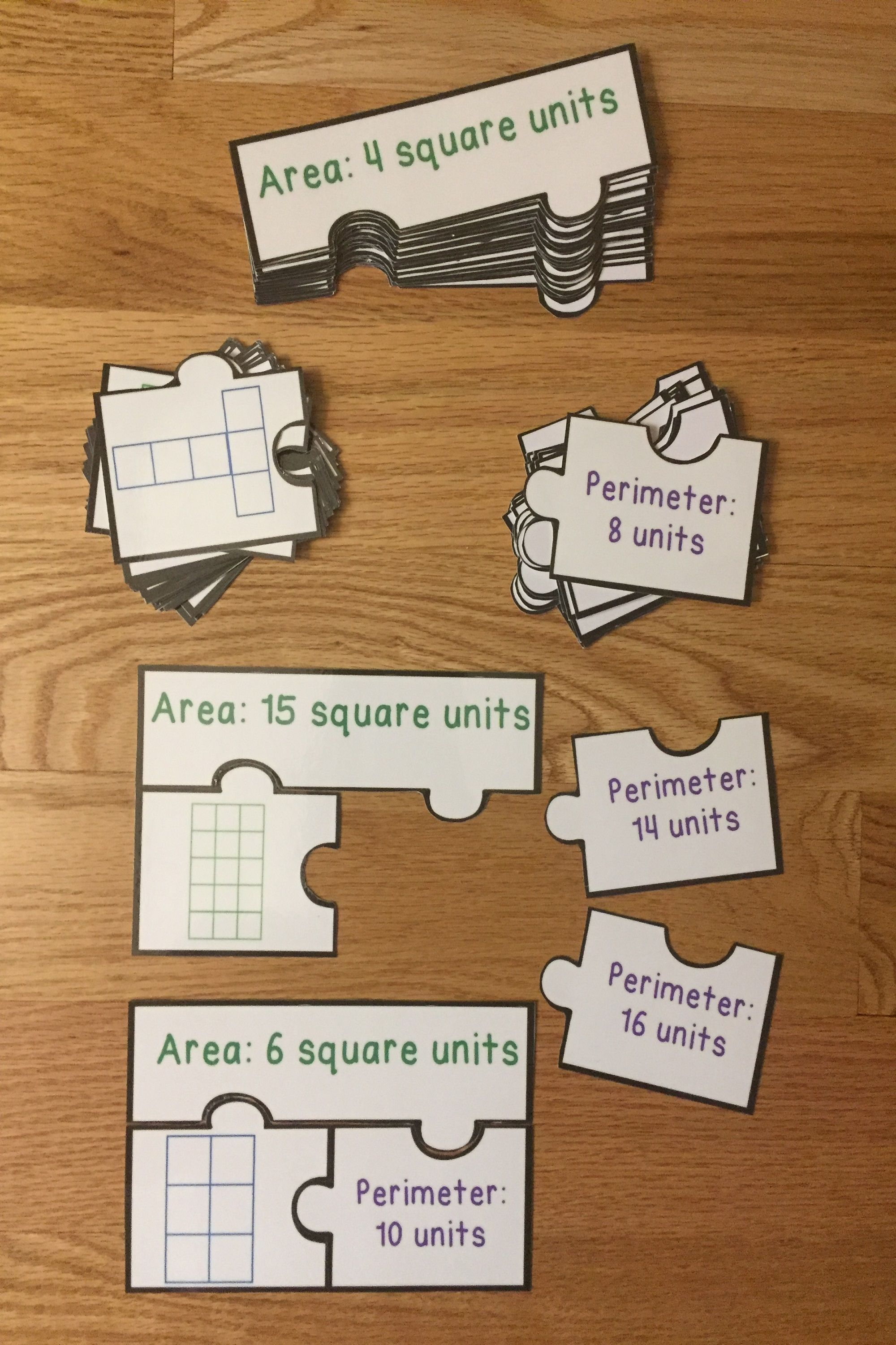 Counting Square Units Area And Perimeter Game Puzzles 3 5 Amp 3 6