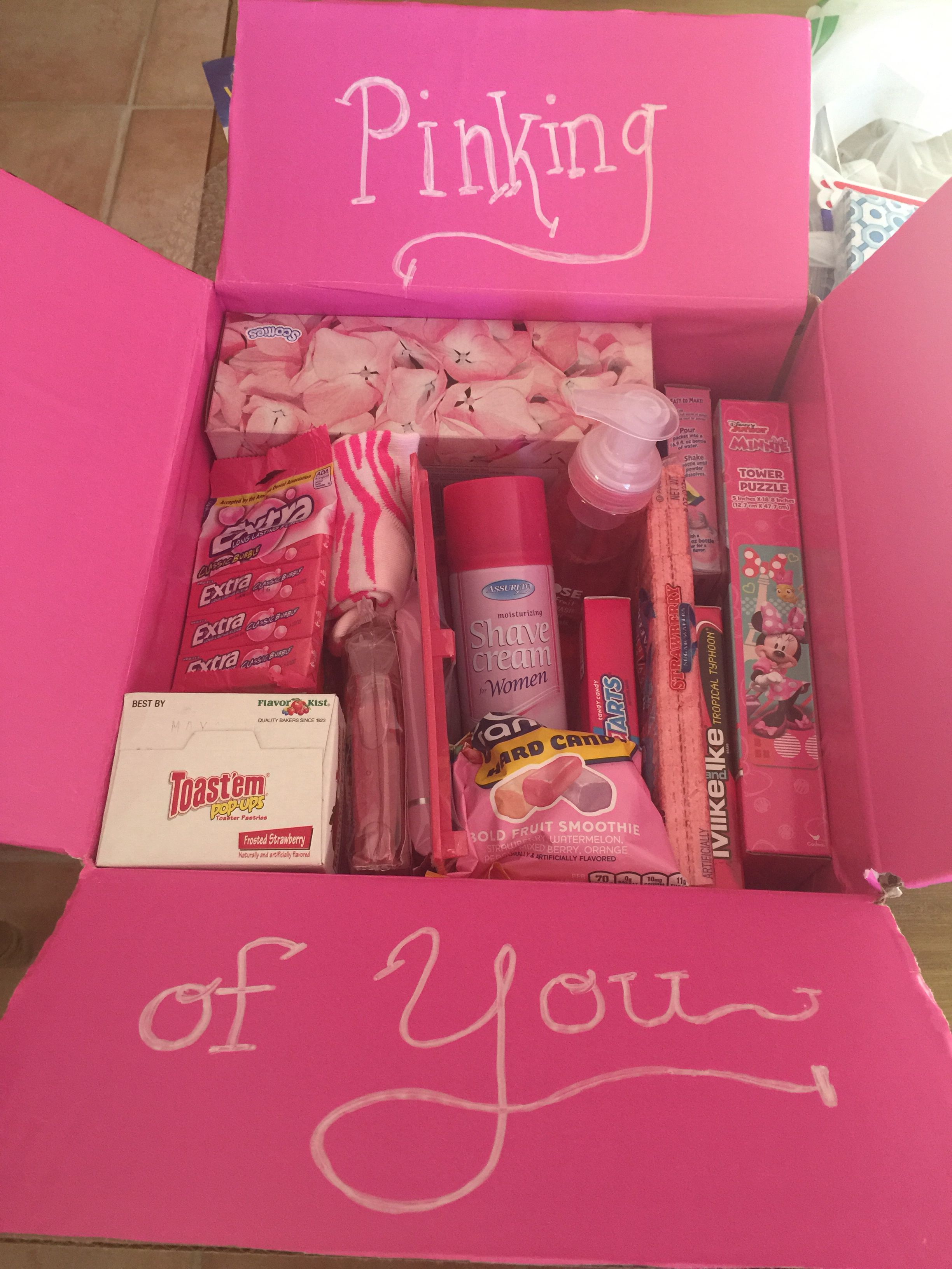Pinking of you care package. Female soldier on deployment