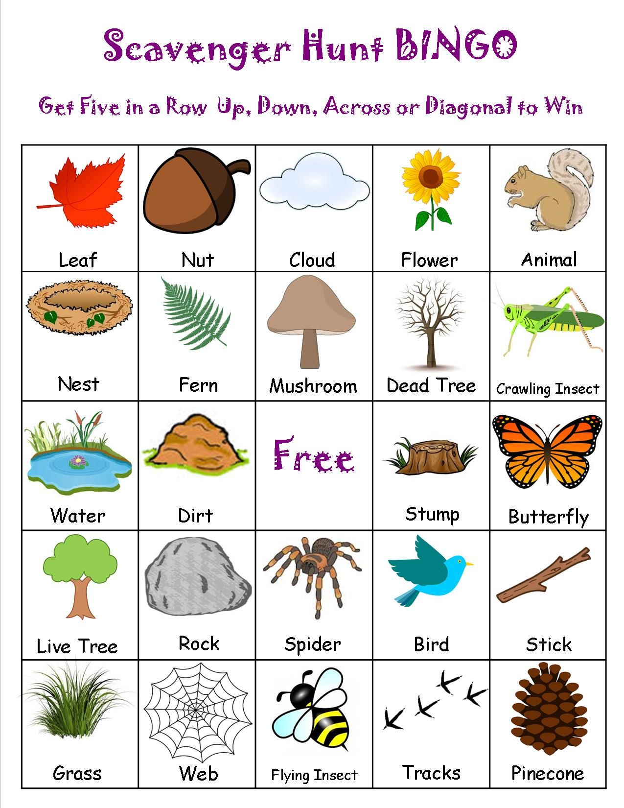 Scavenger Hunt Bingo Camping Pinterest Camping and