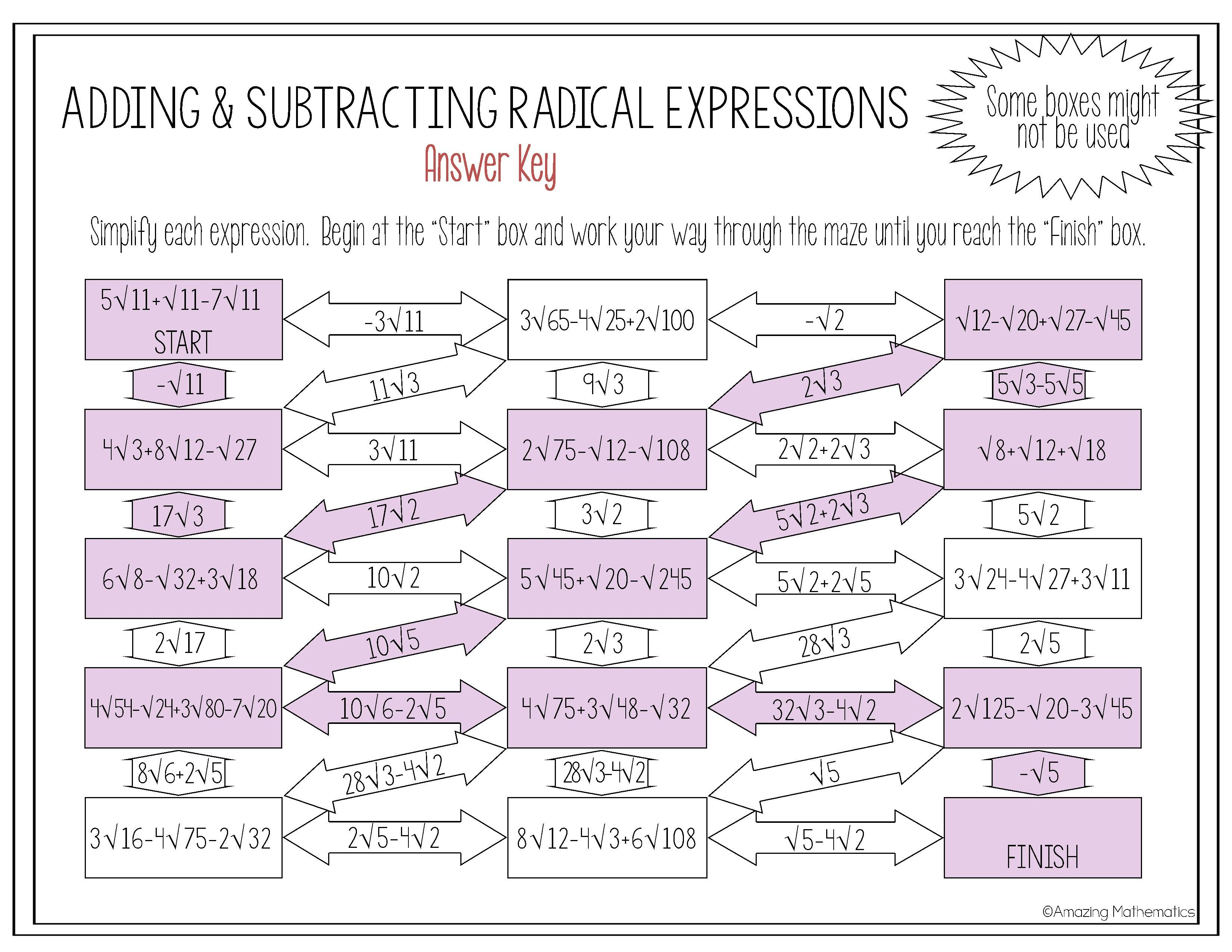 Operations With Radical Expressions Maze