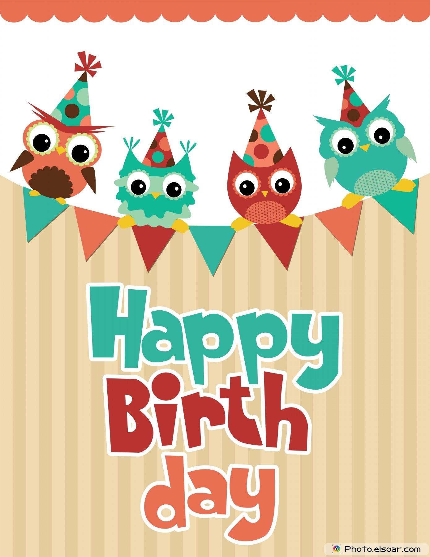 Happy Birthday card design with funny angry owl birthday