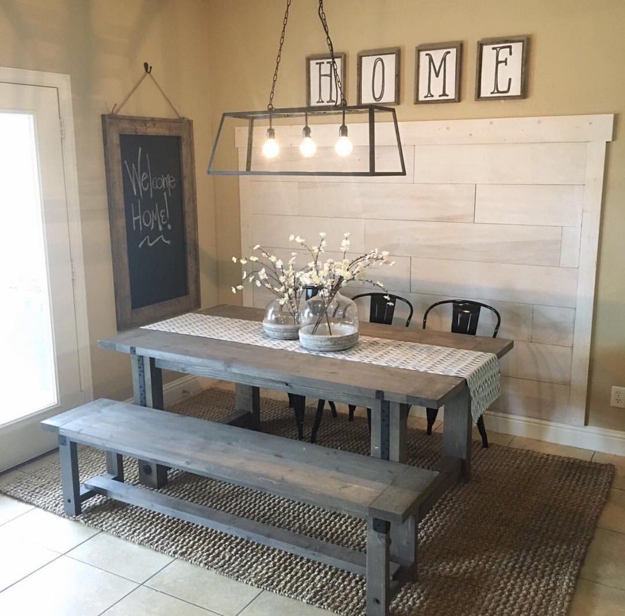 Farmhouse shabby chic dining table. Rustic wood picnic