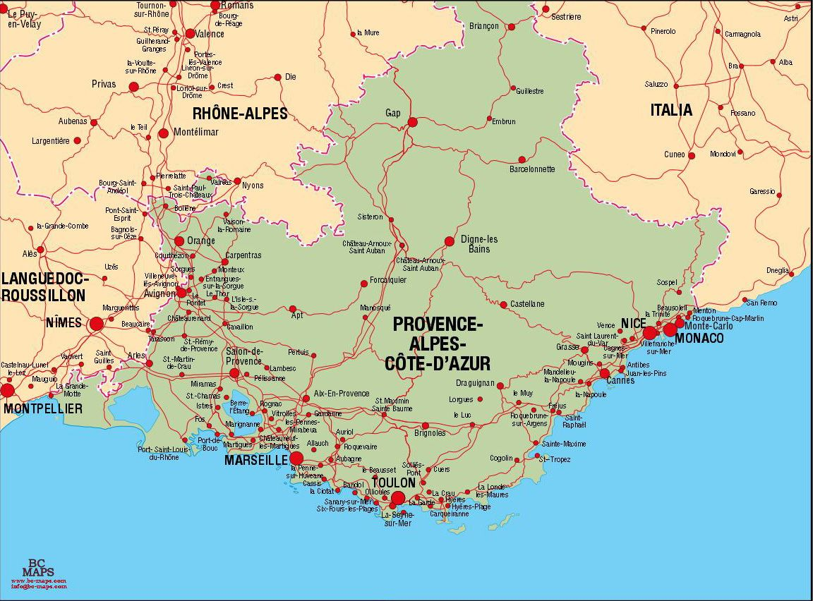 Map Of France Provence Places to travel to