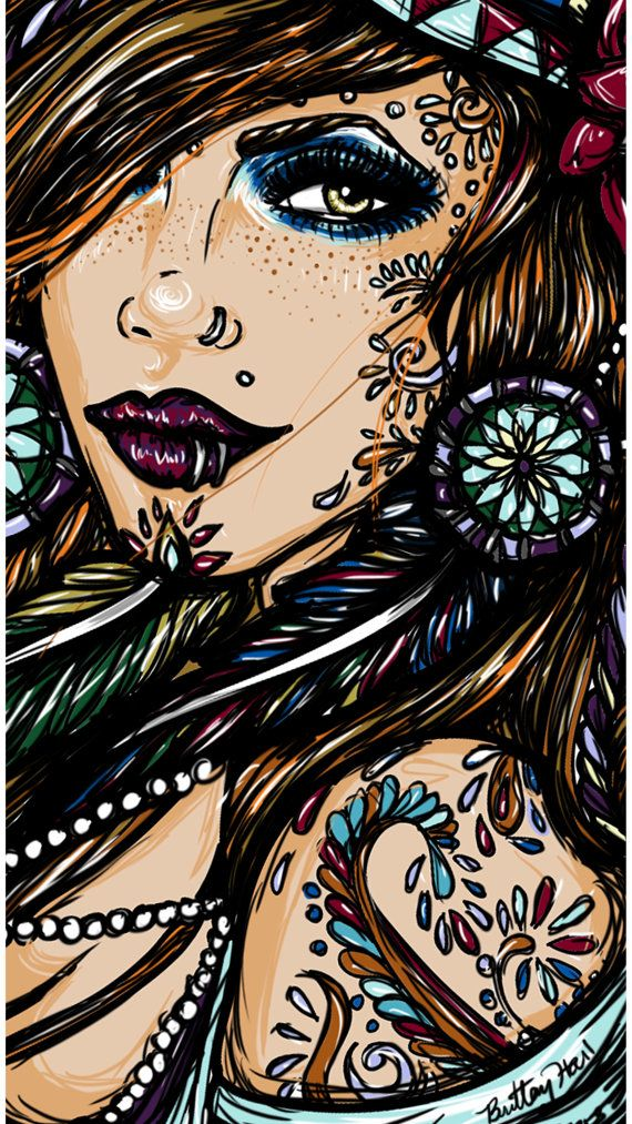 Hippie Gypsy Girl Pin Up Print 9 by 16 on Satin Paper