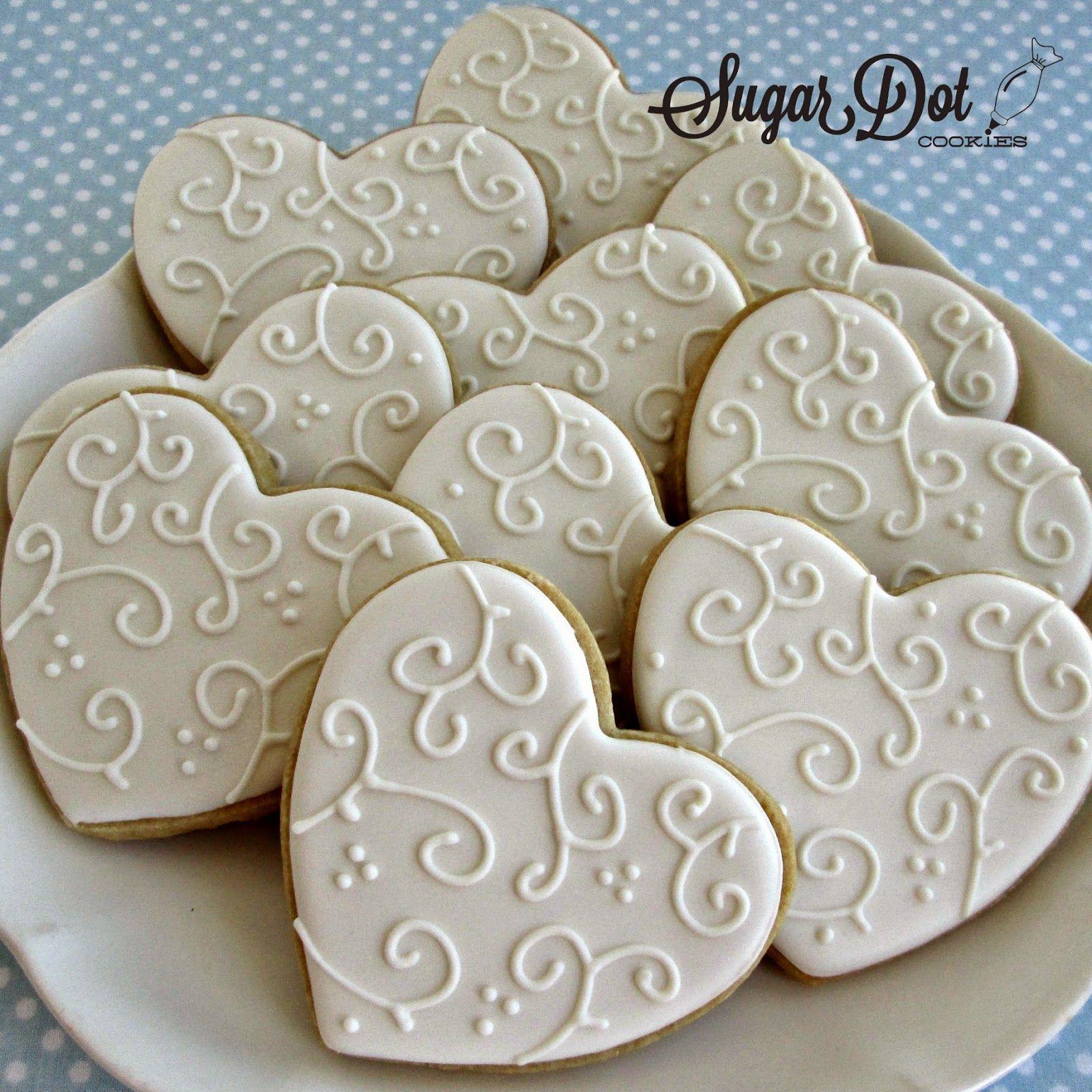 Sugar Dot Cookies White on White Heart Sugar Cookies
