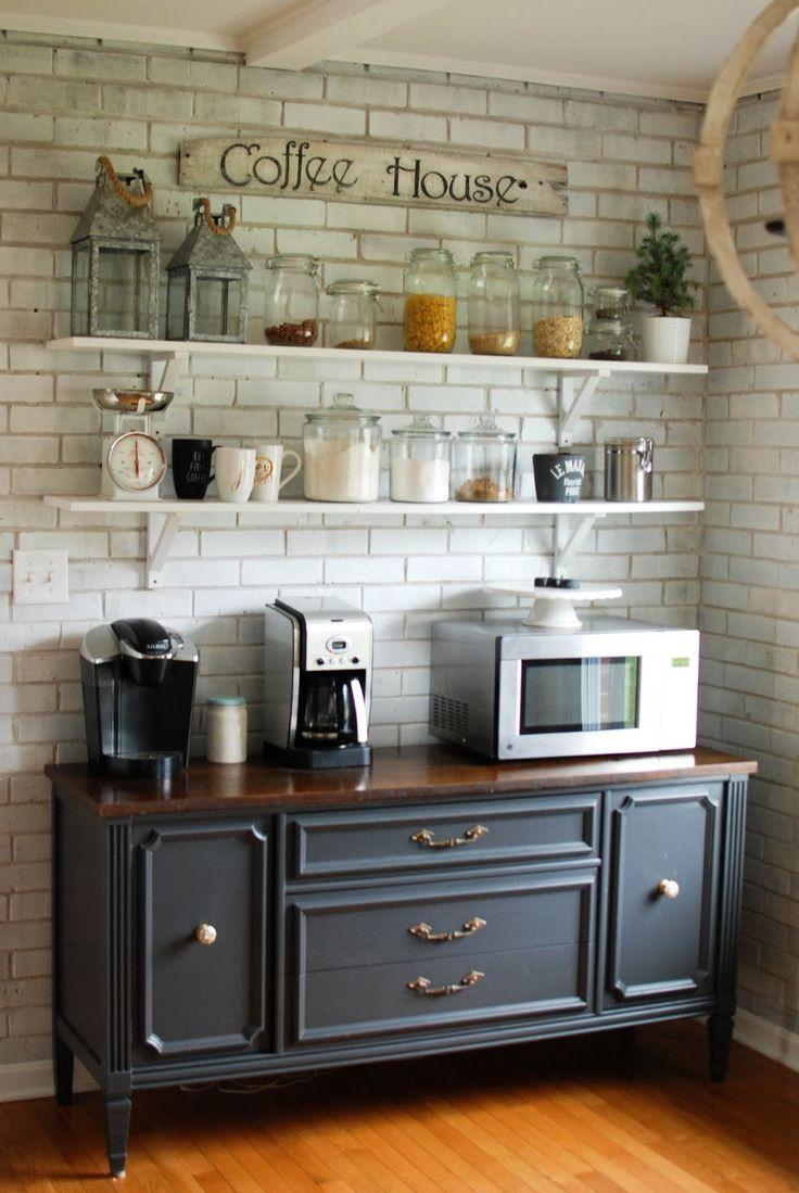 Caught in Grace Open Shelves Coffee Bar/ Buffet Home
