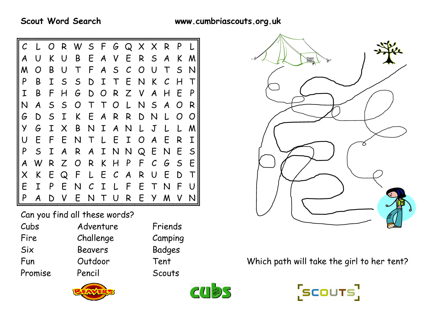 Tiger Scout Word Search