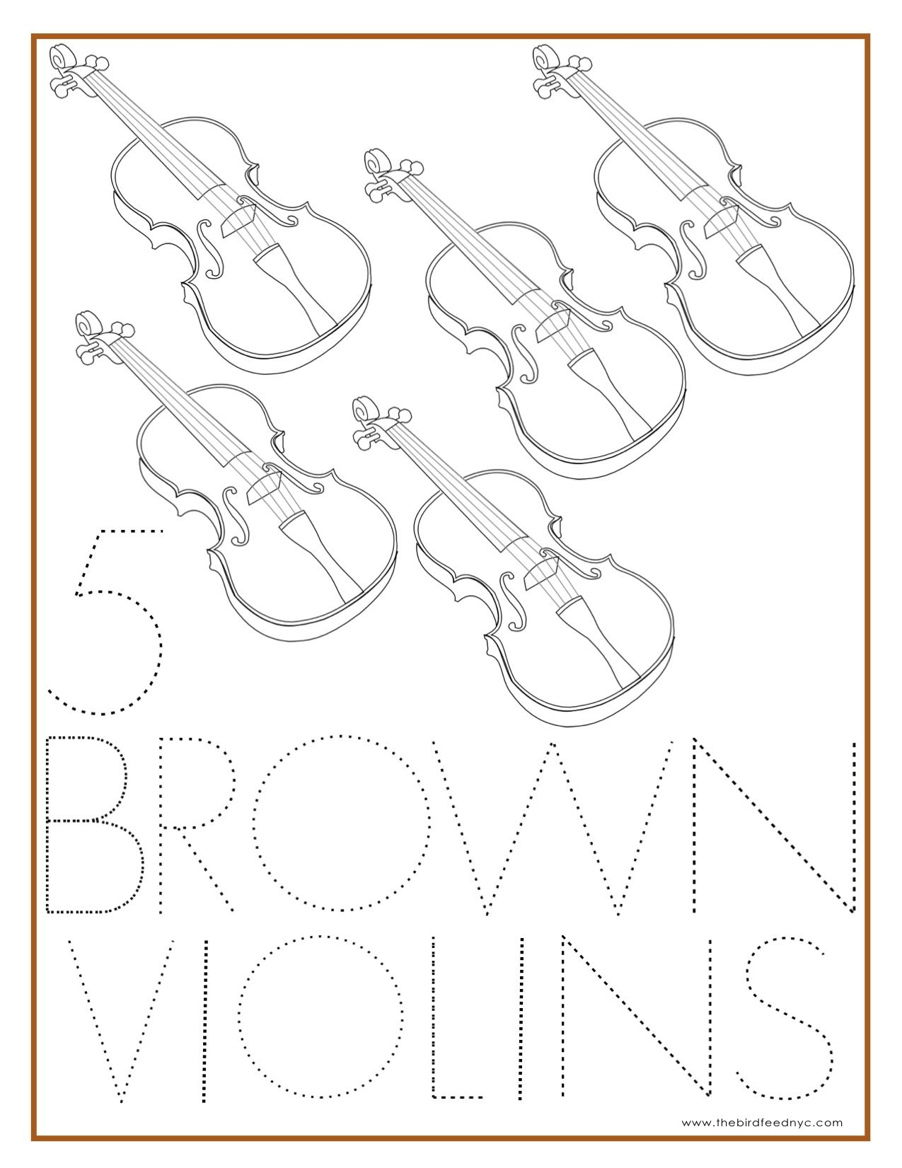 Number Coloring Sheet 5 Brown Violins