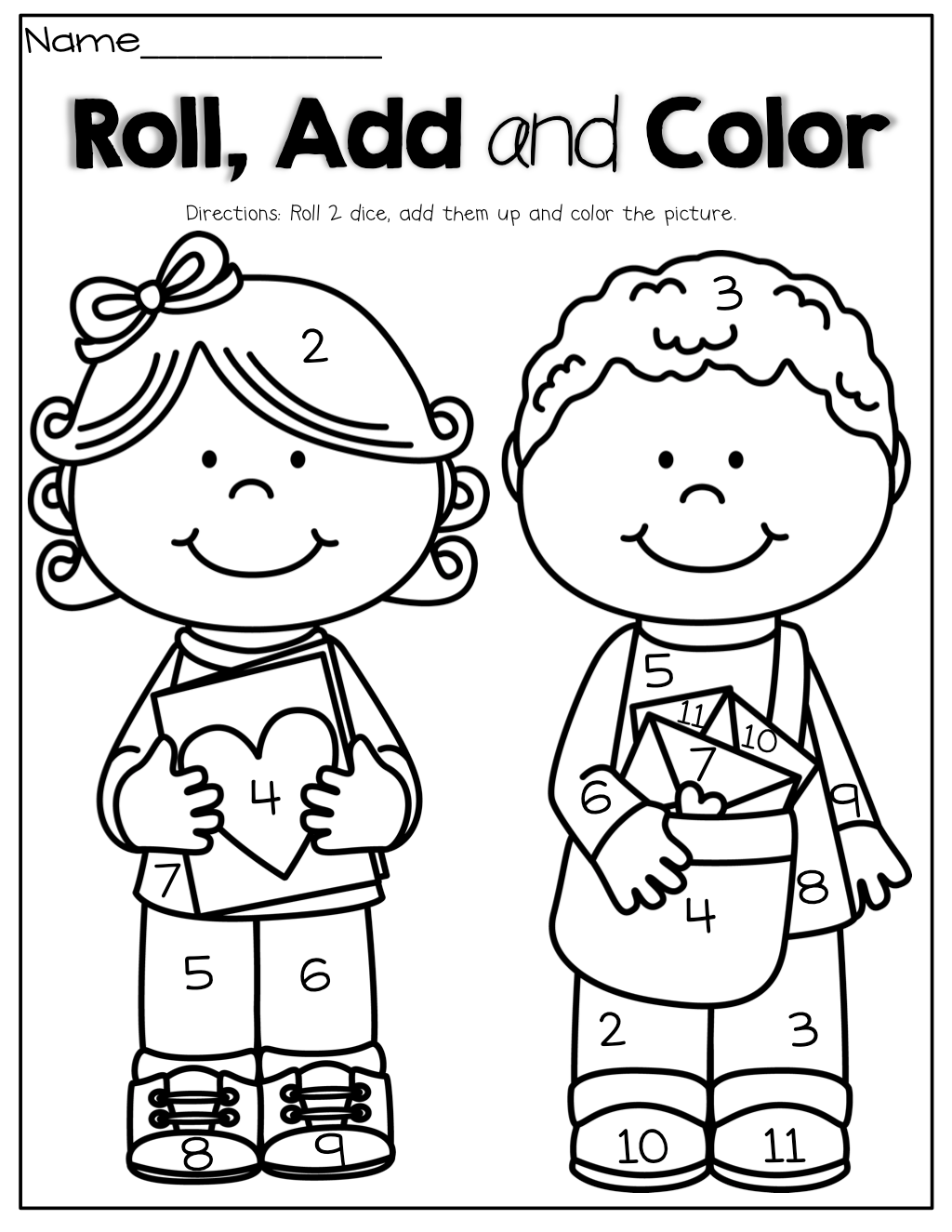 Roll Add And Color Roll 2 Dice Add Them Up And Color The Picture Fun Way To Practice Adding