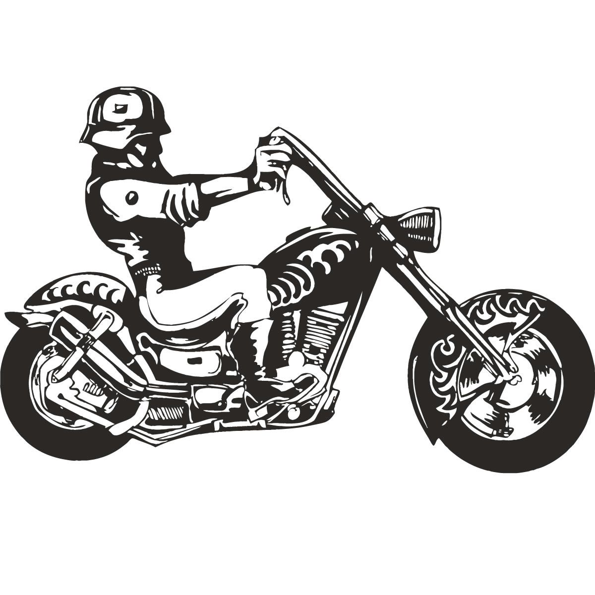 Hells Angel Biker Motorbike Wall Art Decal Stickers