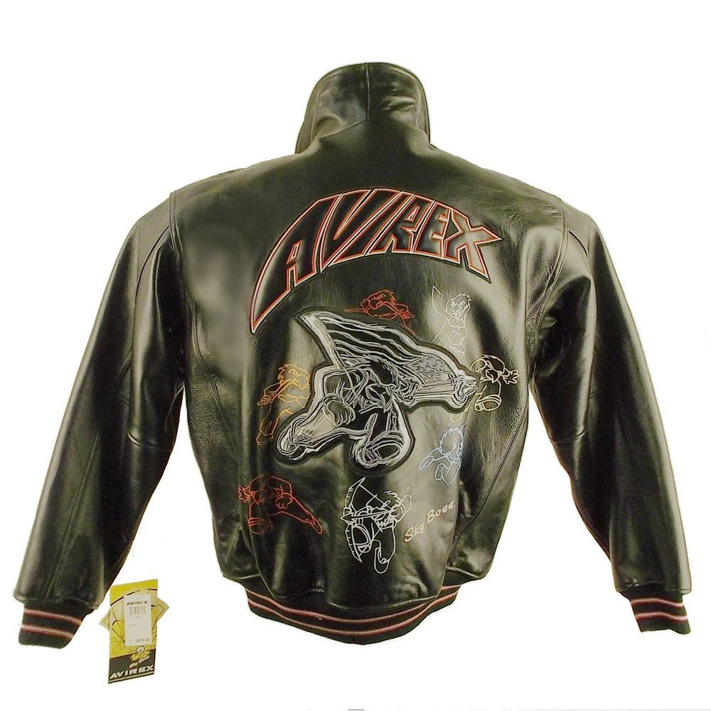 Details about AVIREX, CARTOON, BOMBER LEATHER JACKET