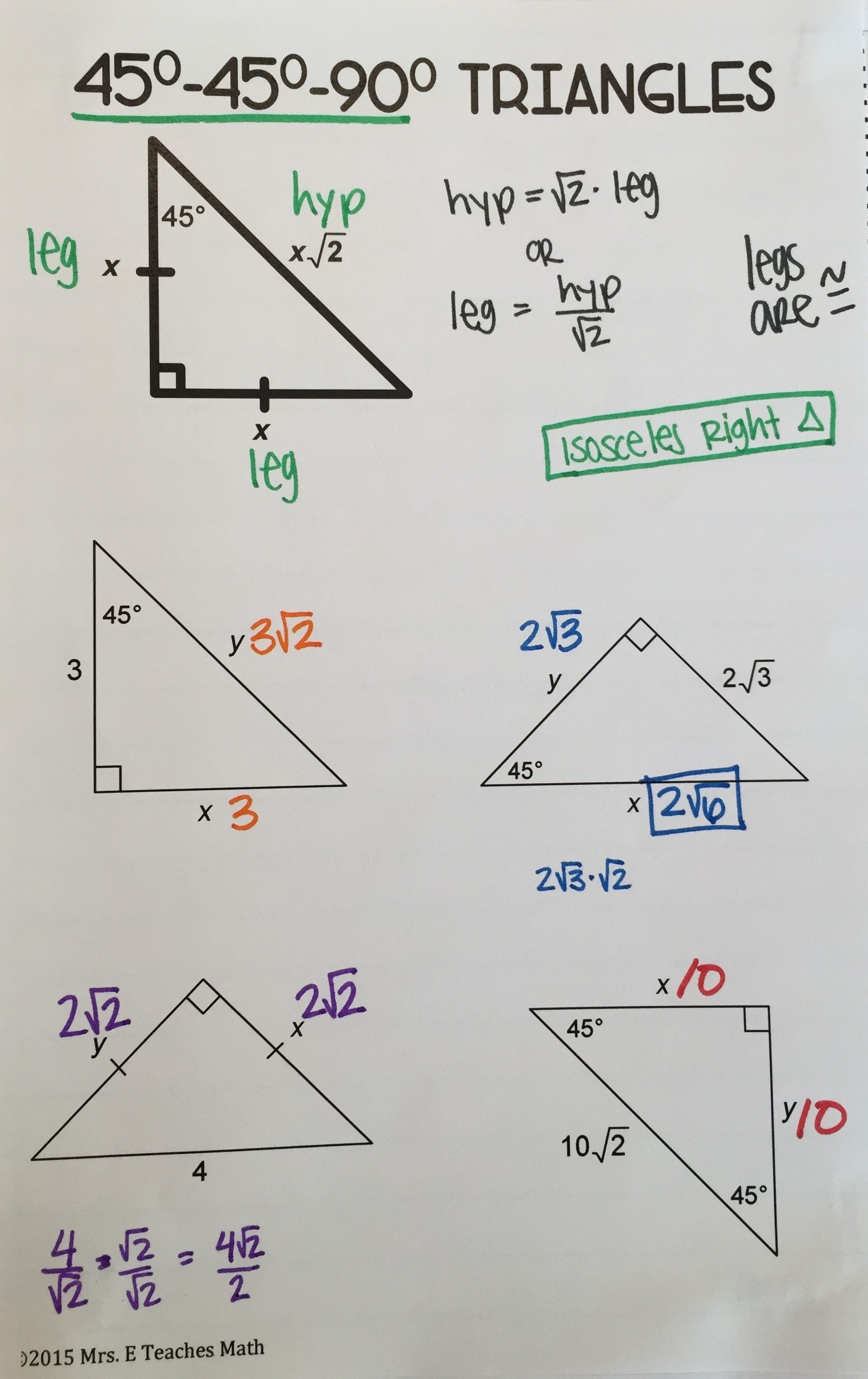 Free Special Right Triangles Interactive Notebook Page For 45 45 90 Triangles