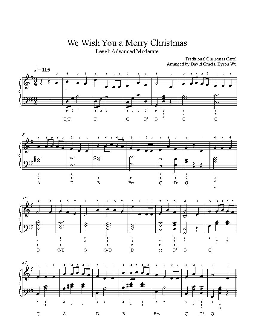 We Wish You a Merry Christmas by Traditional Piano Sheet