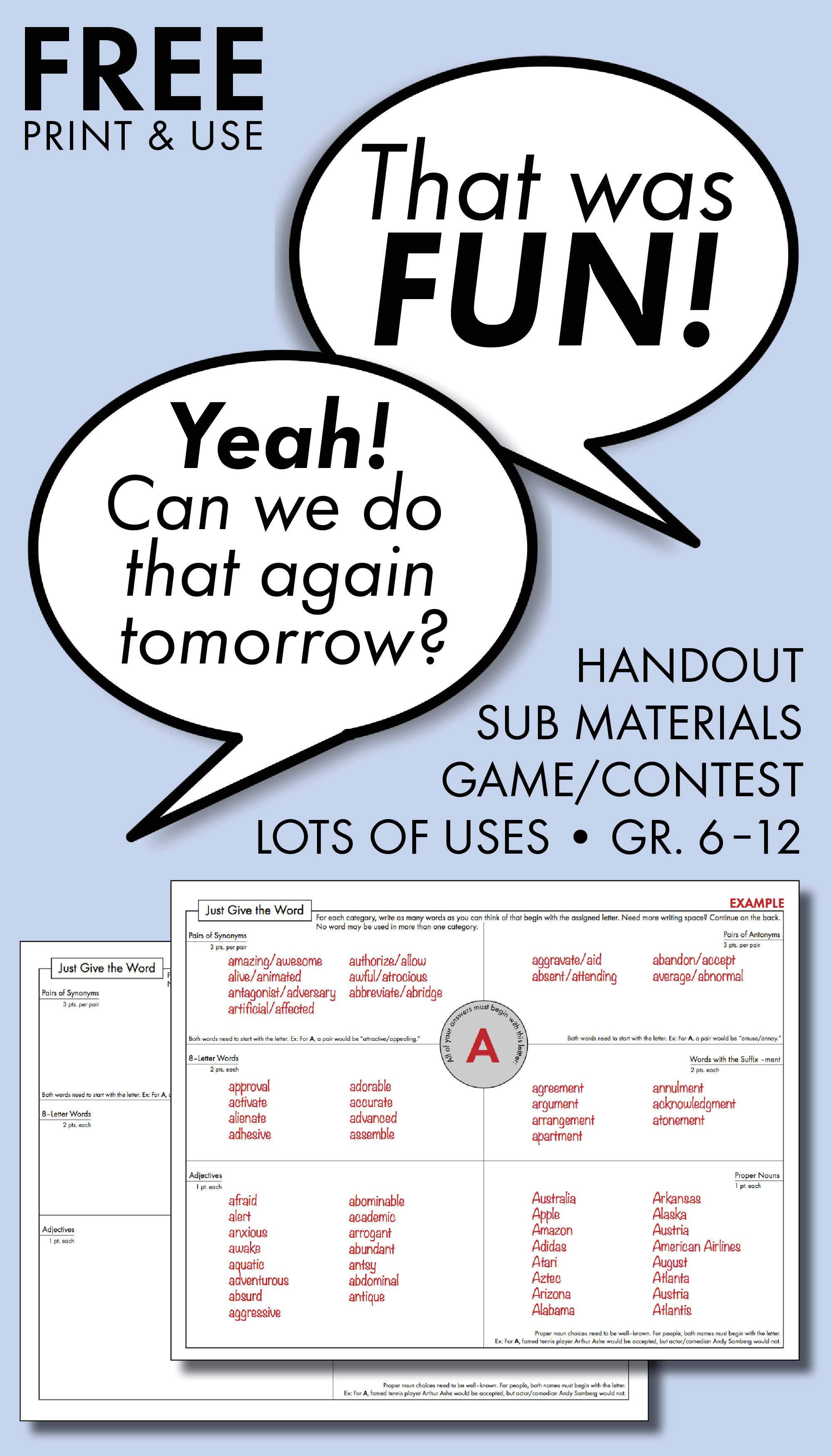 Fill Every Minute With Rigorous Fun Free Worksheet For In Class Activity Sub Materials And