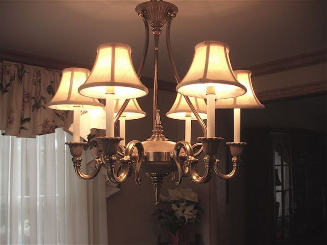 These Were Very Well Made Candle Light Lamp Shades On A Beautiful Brass Chandelier Description
