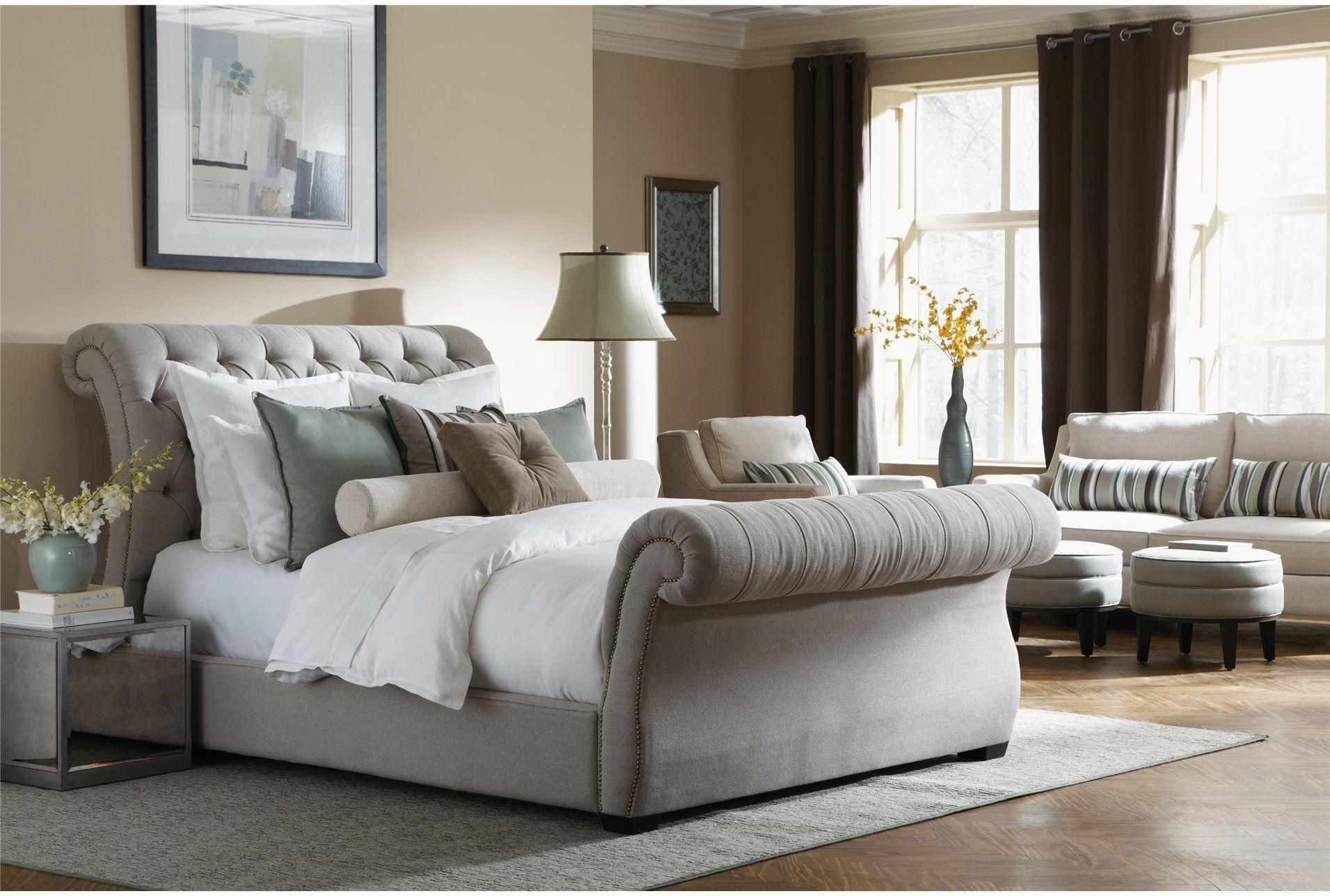 Tufted Sleigh Bed Fabric Upholstery