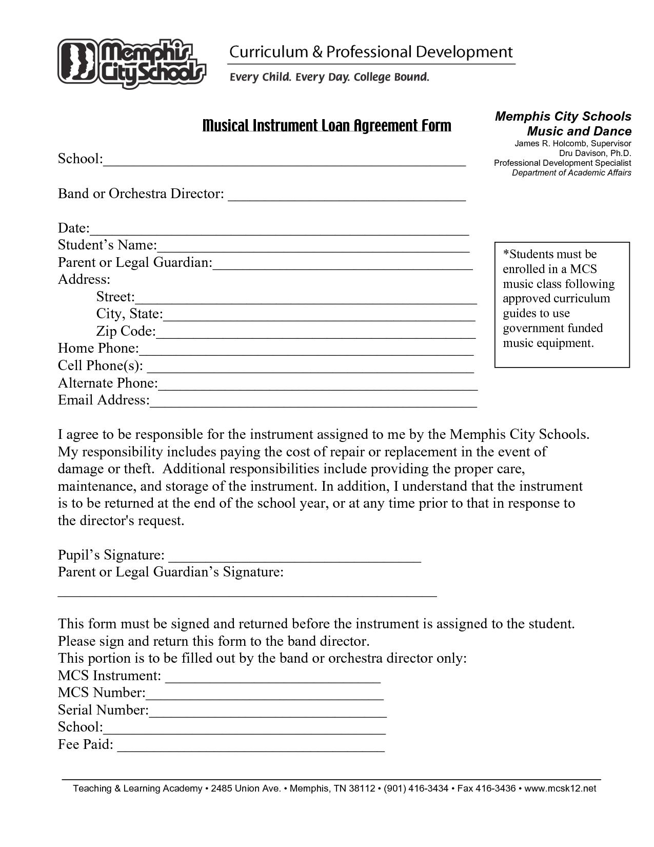 Printable Sample Loan Agreement Form Form