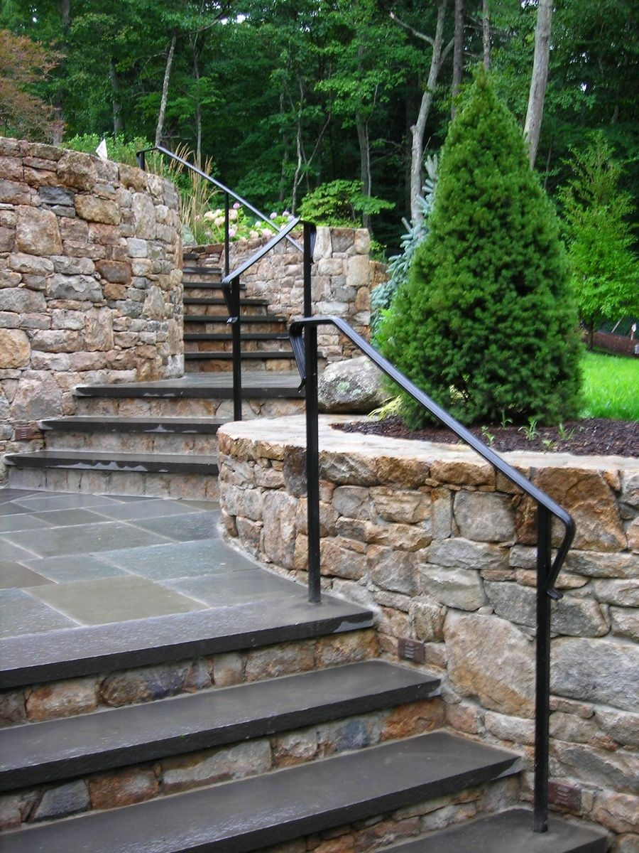 Custom Exterior Railings Fencing Gates Products I Love Pinterest Metals Stone Stairs | Installing Railing On Stone Steps