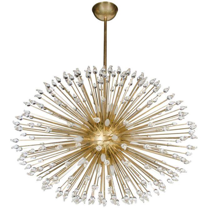 Mid Century Modern Sputnik Chandelier With Handn Murano Glass Teardrops