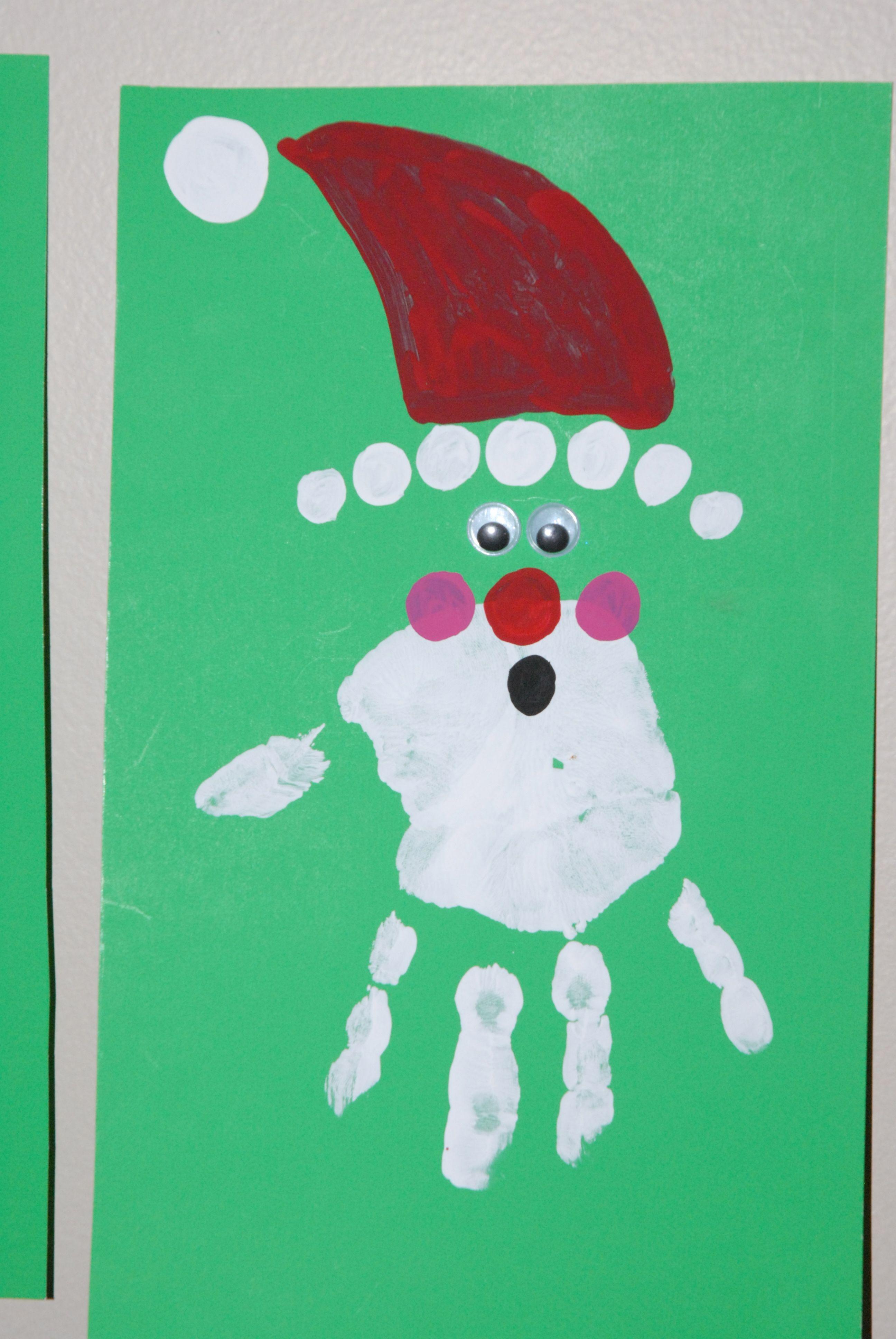 Hand print kids Christmas card KS1 Christmas card ideas