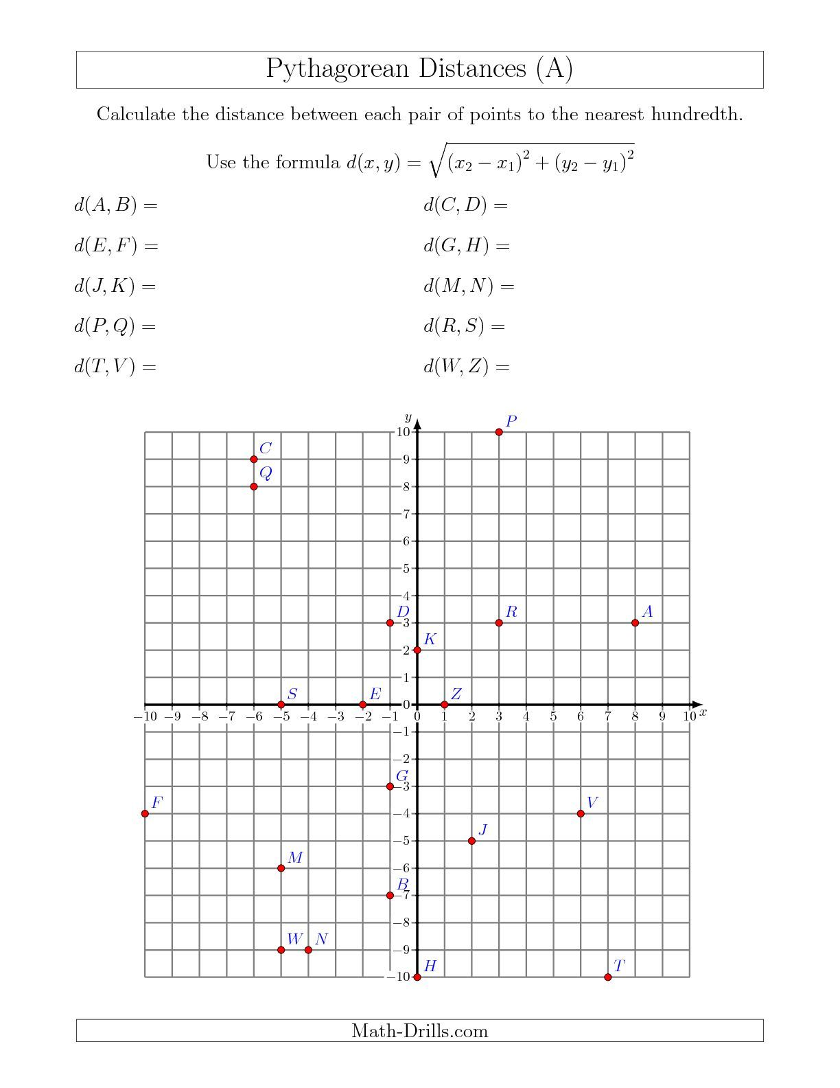 Calculating The Distance Between Two Points Using