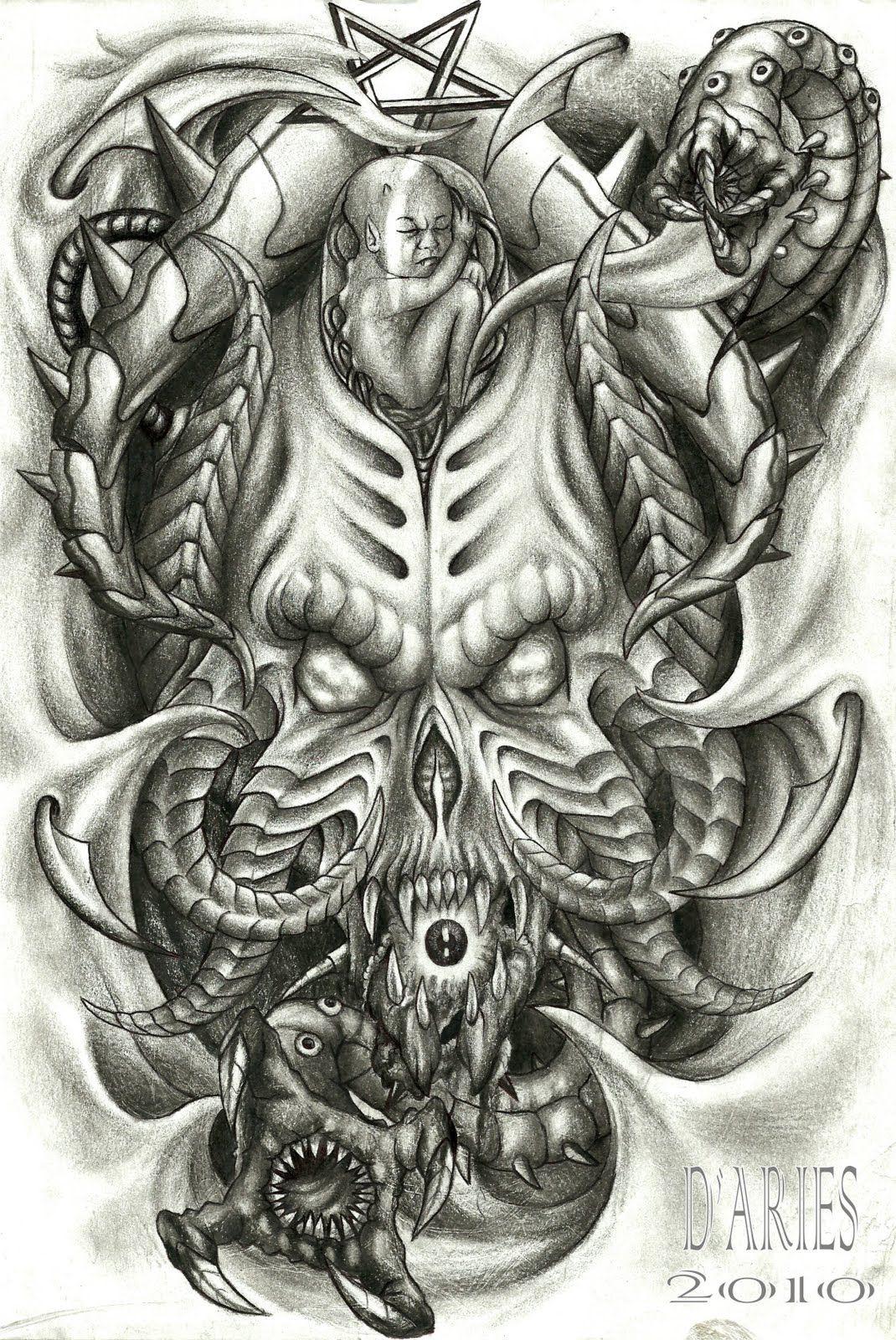 biomechanical skulls tattoos design http//tattoosaddict
