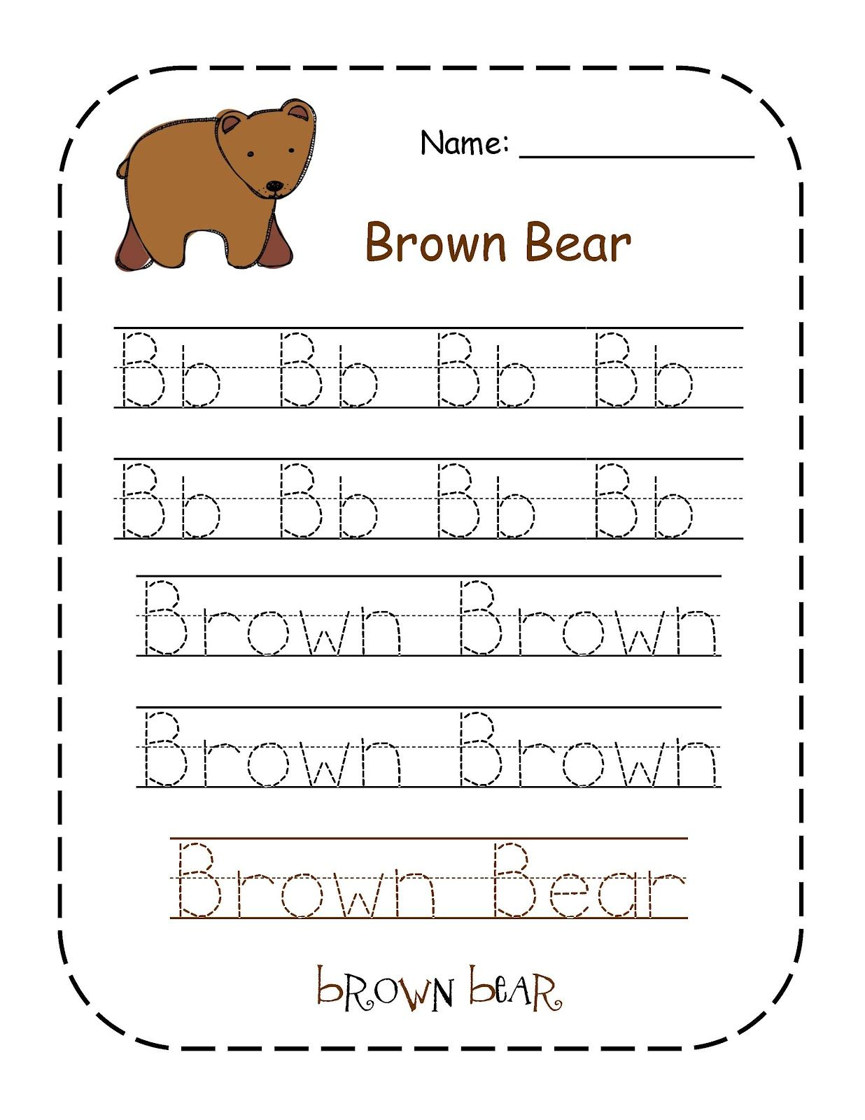 Preschool Printables Brown Bear Color Words Printable