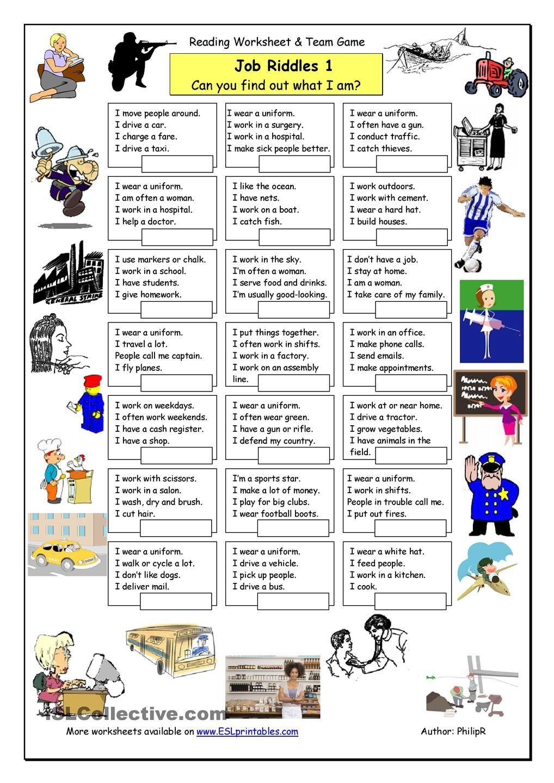 Job Riddles (1) Easy Ingles 2 Pinterest Easy