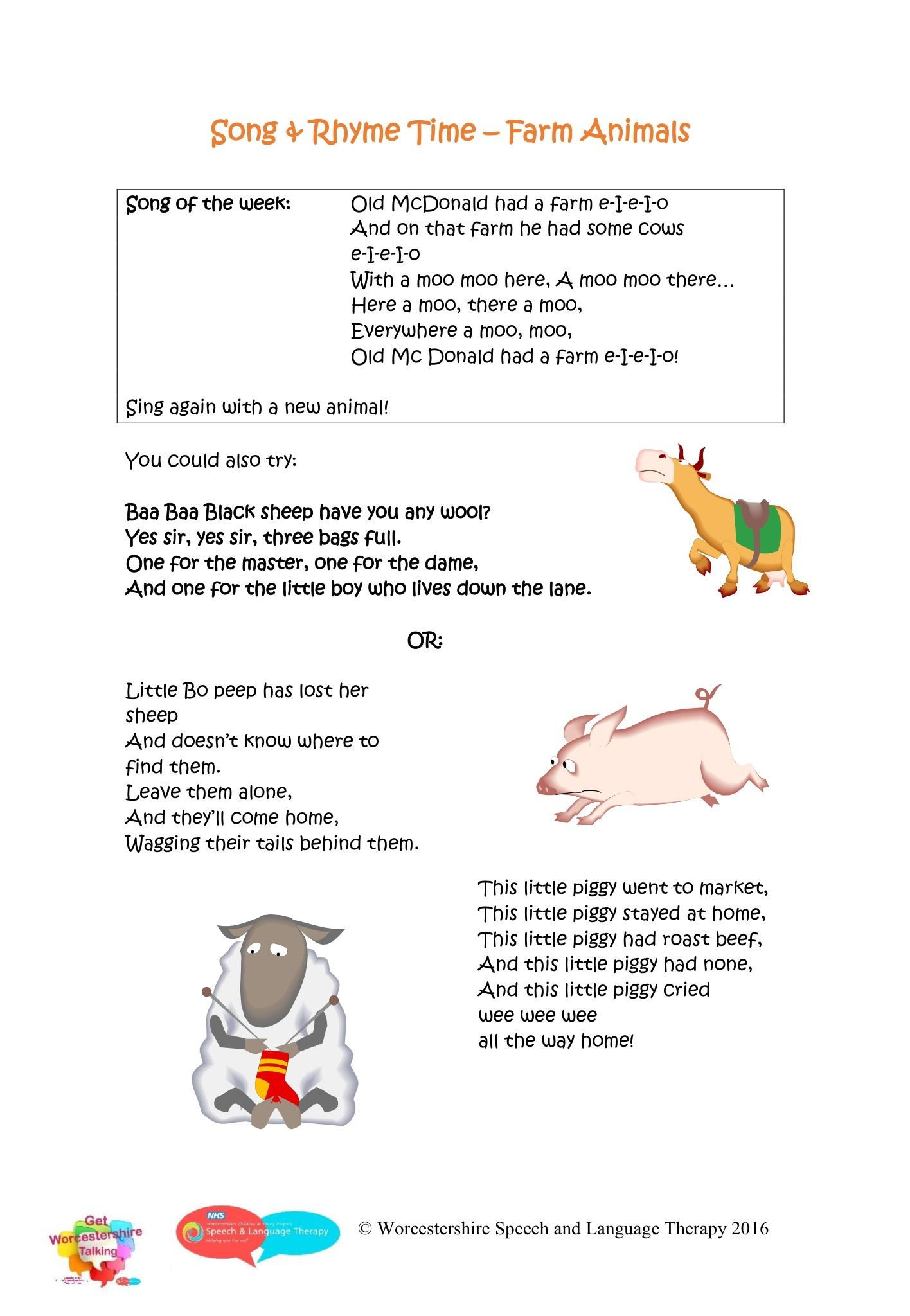 Nursery Rhymes Farm Animals