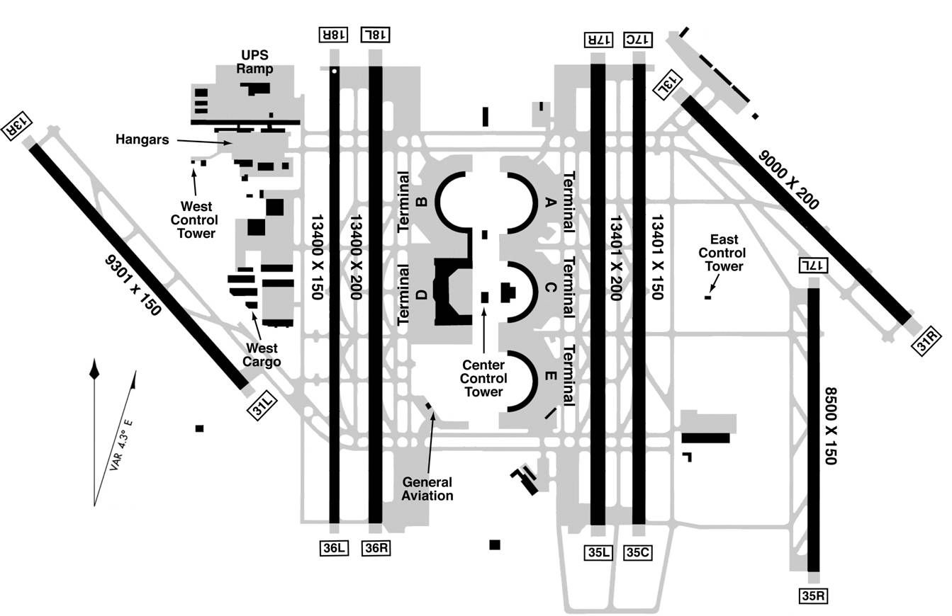 Dallas Fort Worth Airport Runway Map