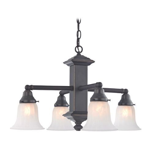 Bronze Craftsman Chandelier With Alabaster Glass Shades 375 78 G9430 Destination Lighting