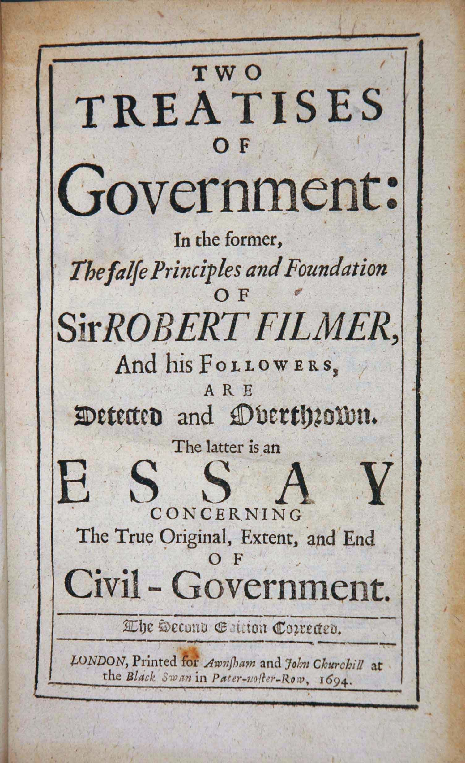 The Two Treatises Of Government By John Locke