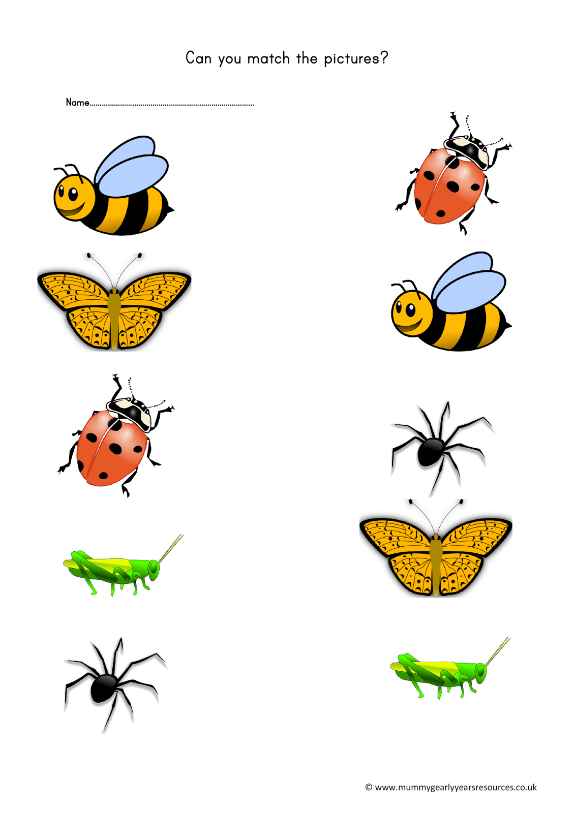 Mummy G Early Years Resources Mini Beasts Matching