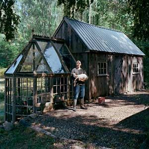 Visually stunning, agriculturally functional, and made from salvaged materials. This greenhouse/potting shed  combo proves that