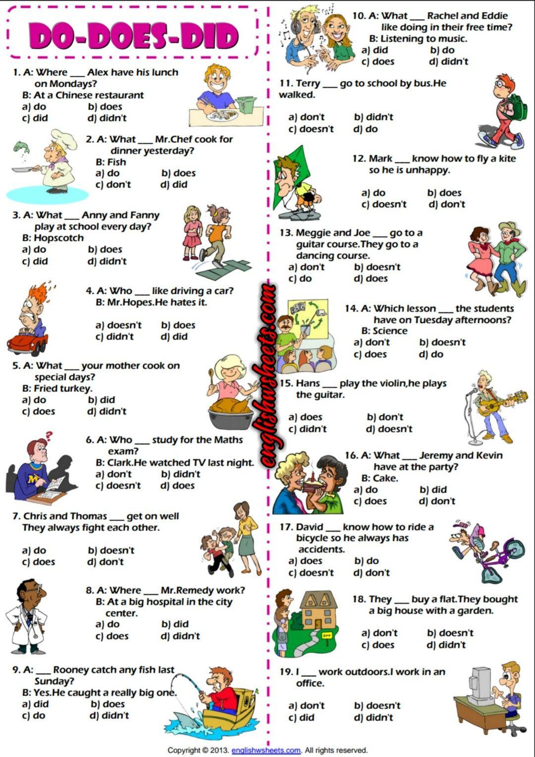 Auxiliary Verbs Do Does Did Multiple Choice Esl Exercise