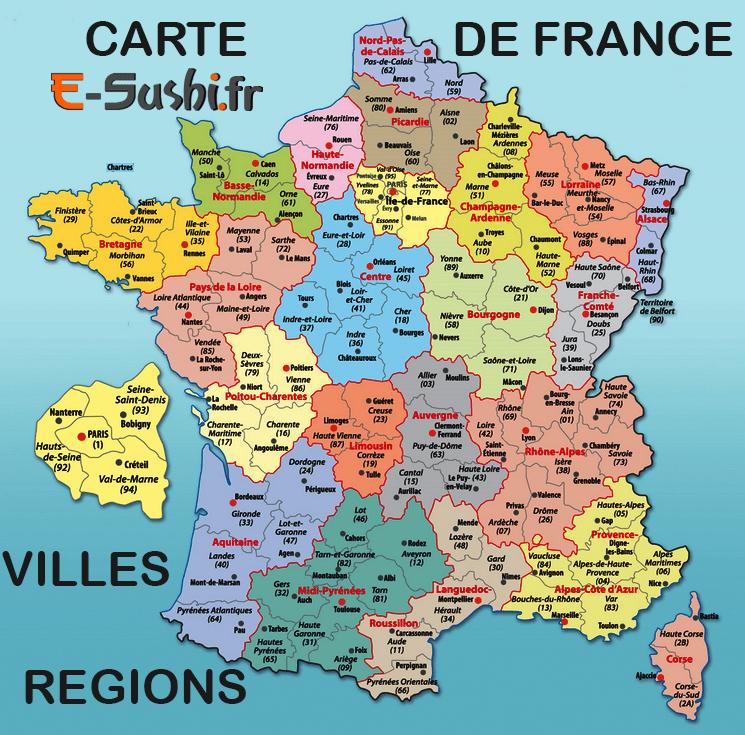 Régions Villes Carte France carte de france