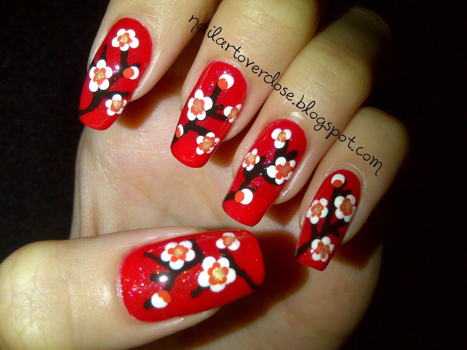 Nail Art Overdose Chinese New Year Nail Design Cherry