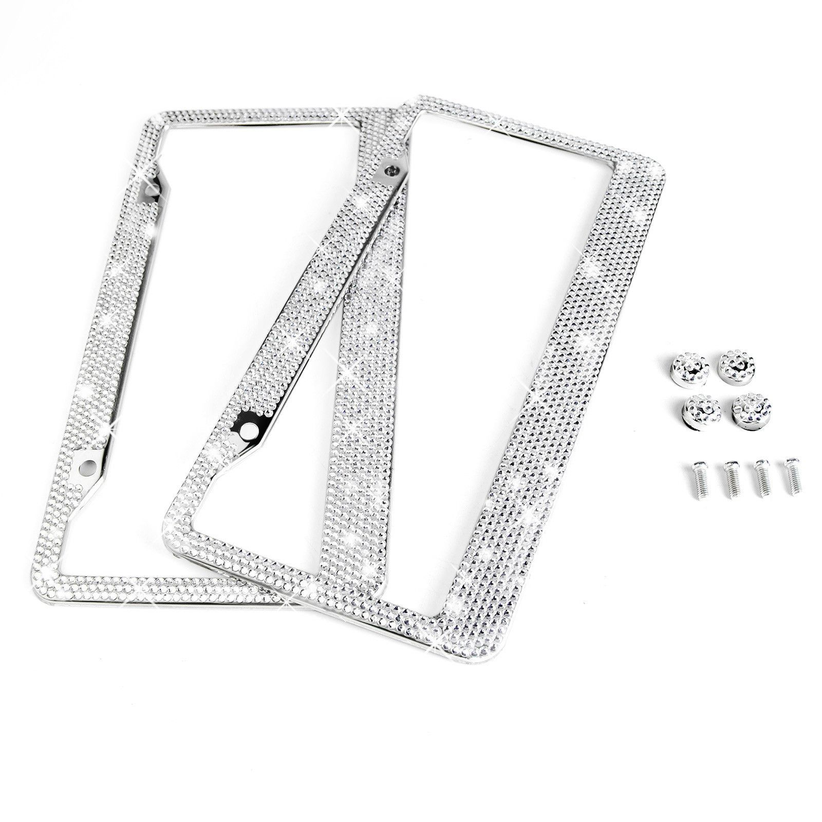 License Plate Frame 2 White Diamant Silver Bling Crystal