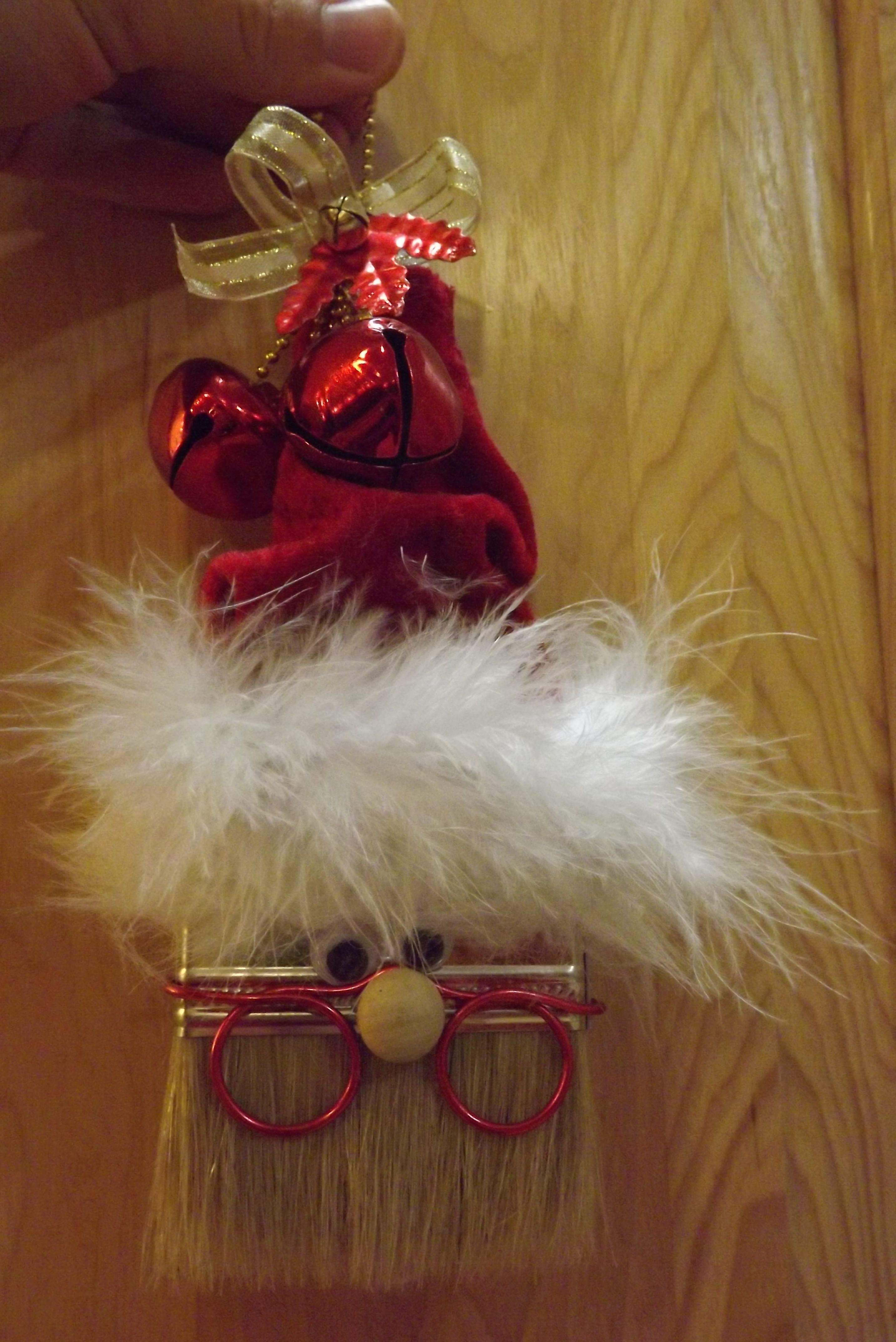 Homemade Christmas Ornament. Santa Claus made from a paint