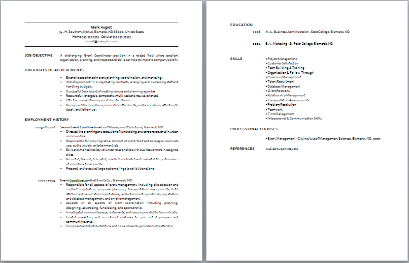 Office Coordinator Resume Objective Examples breakupus terrific – Office Coordinator Resume Sample