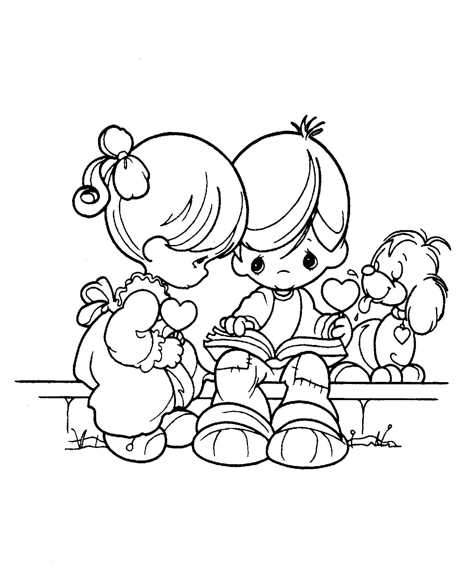 Precious Moments Always With The Little Dog Coloring Pages