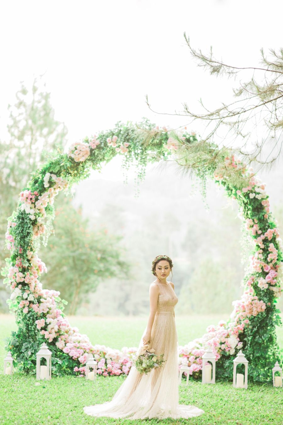 Gerry and Devina's Engagement With a Giant Floral Wreath