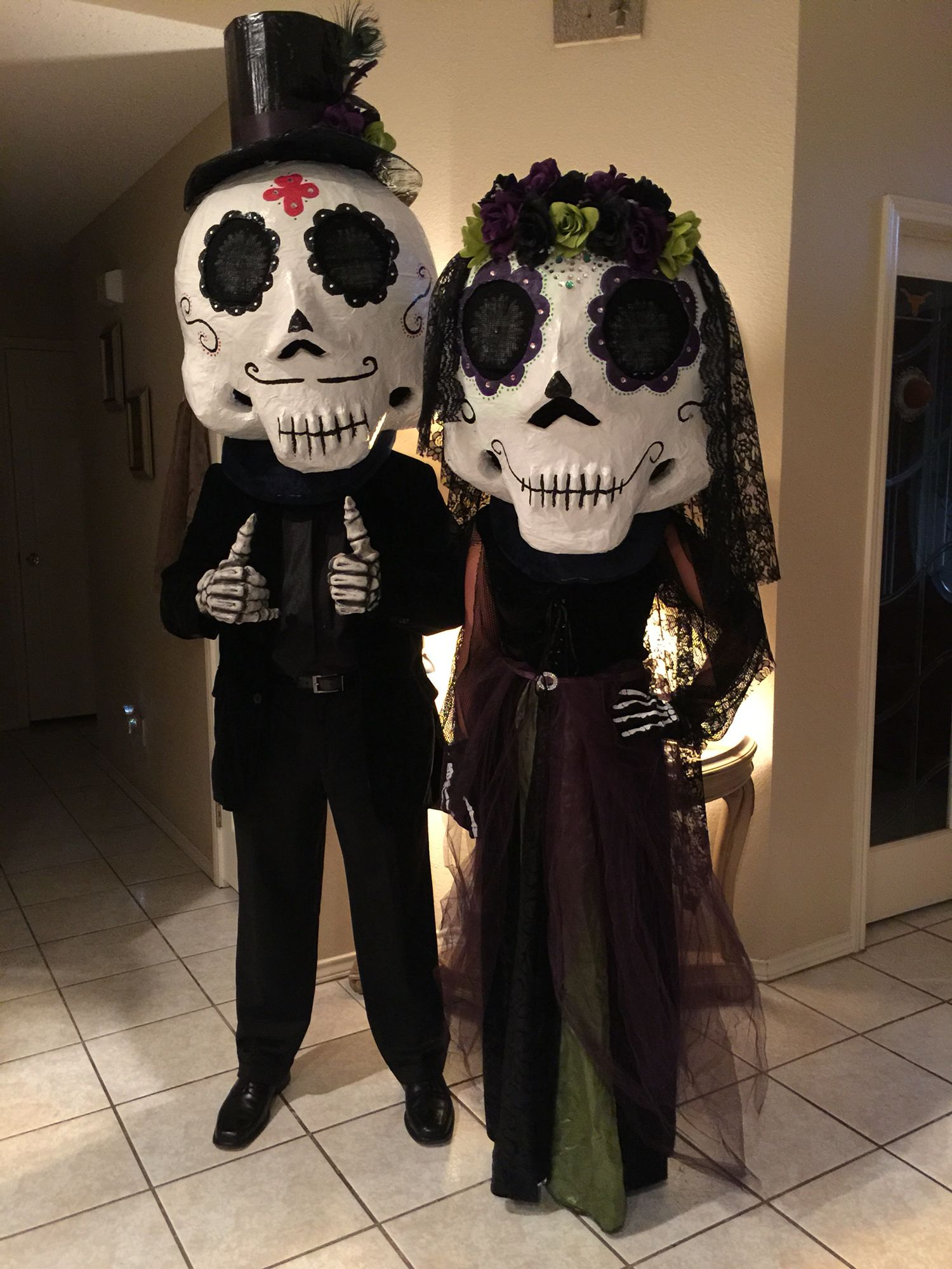 Day of dead couple... Paper mache mask... Day of the dead
