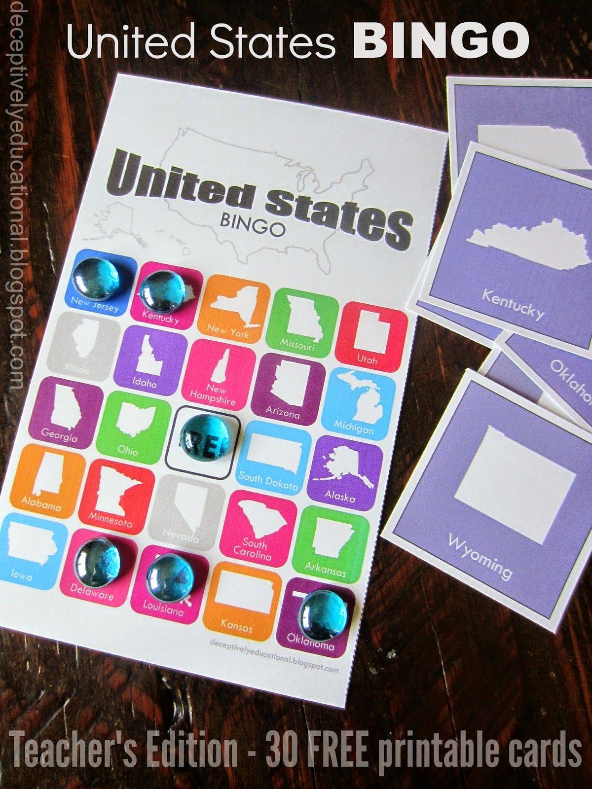 Relentlessly Fun Deceptively Educational United States Bingo