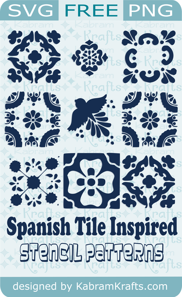 Free Spanish Tile Inspired SVG Stencil Cutting Files