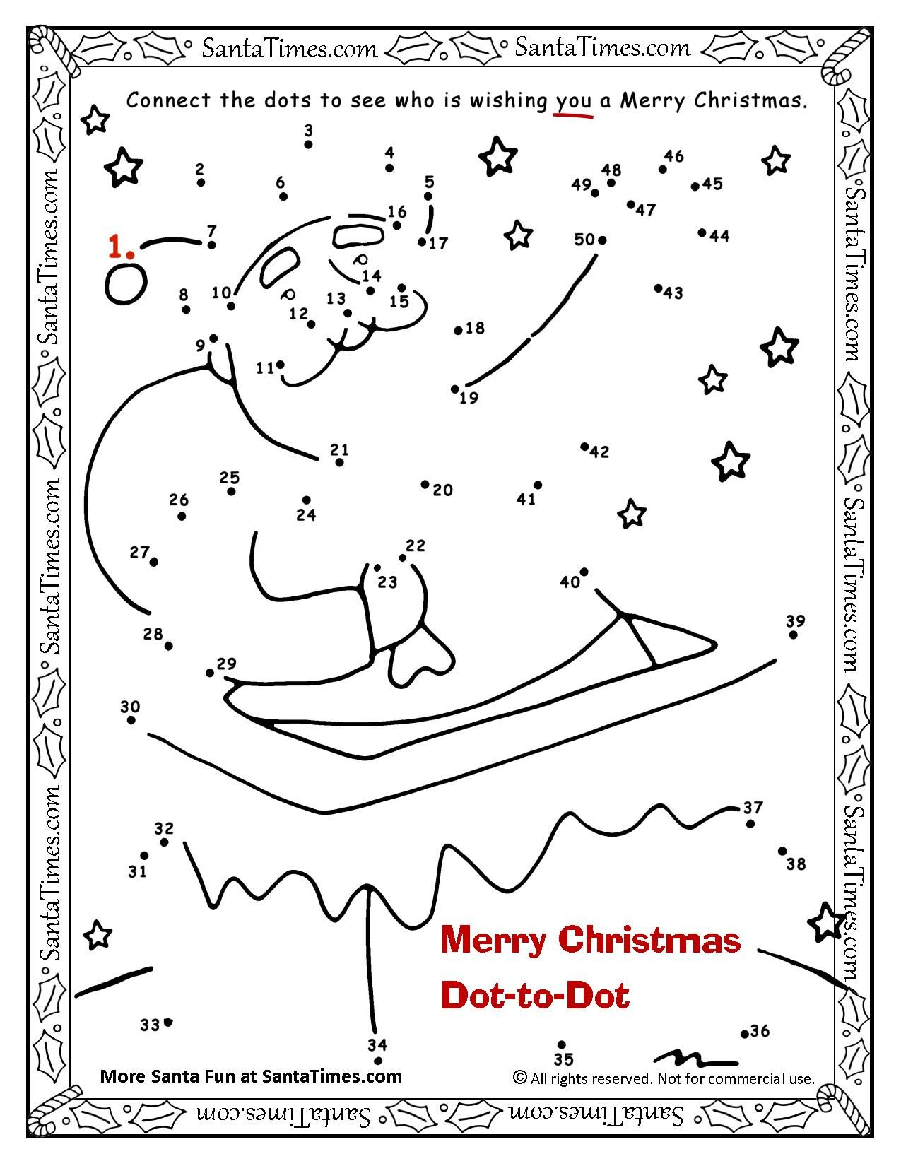 Merry Christmas Dot To Dot Connect The Dots To See Who Is